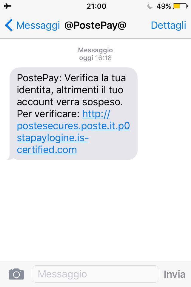 Un sms di phishing